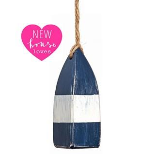 blue and white mini buoy nautical bathroom light pulls with jute cord