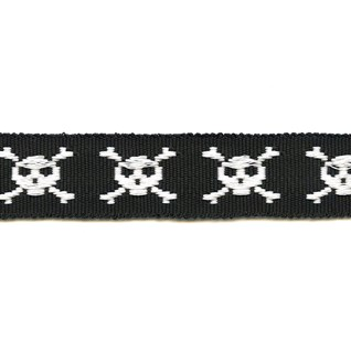skull and crossbones in black motif decorative woven trimming braid