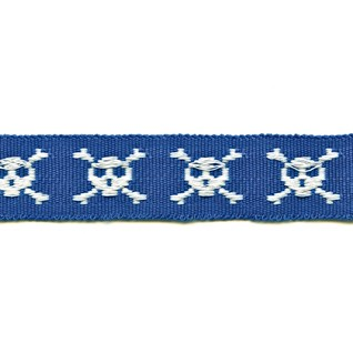 skull and crossbones in blue motif decorative woven trimming braid