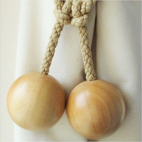 large natural beech ball curtain tieback