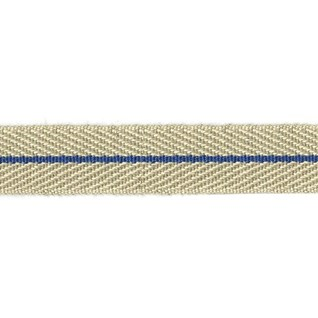 smart herringbone jute trim with navy blue centre stripe, interior braid