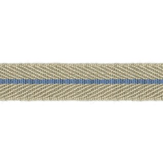 smart herringbone jute trim with light sky blue centre stripe, interior braid