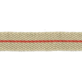 smart herringbone jute trim with light strawberry red centre stripe, interior braid