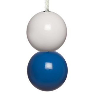 blue & white bathroom light pulls with white cotton rope cord