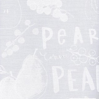 pear tree avenue white-on-white printed kitchen blind by charlotte farmer of pears