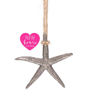 a traditional pewter starfish bathroom or toilet light pull with jute cord and NHT loves motif