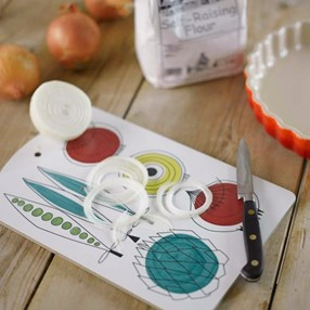 blue, red & green picknick design kitchen chopping board of peas and onions