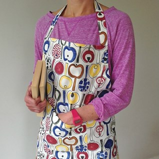 colourful pomona apron by marainne westman vintage 1960's featuring retro apples