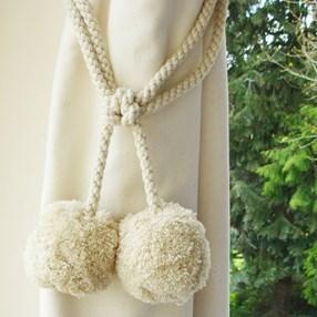 soft pompom woolly curtain tieback