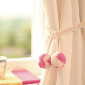 punk skunk curtain tiebacks in bubblegum pink and white colour