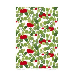 red orchard tea towel featuring red apples and green leaves by Victoria Mollgard dish towel