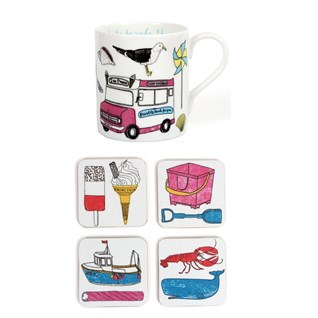 colourful seaside fun china mug & coaster set by charlotte farmer featuring classic beach items