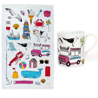 seaside fun holiday china mug and tea towel gift set