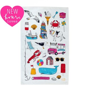 brightly coloured seaside fun tea towel by charlotte farmer featuring beach holiday items