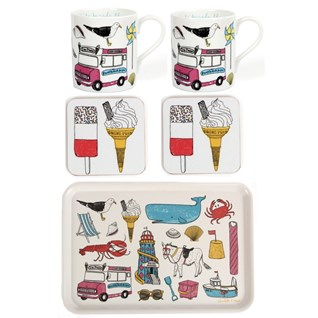 colourful seaside fun mug coaster and drinks tray gift set of beach holiday scenes