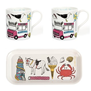 colourful seaside fun mug and drinks tray gift set of beach holiday scenes
