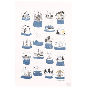 snow globe kitchen tea towel in blue and white