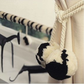 large pompom woolly curtain tiebacks black and white skunk