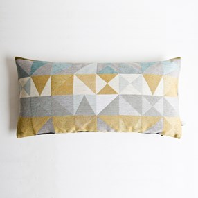 mustard & grey woven cushion by Laura Fletcher with geometric weave
