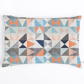 paprika & navy woven cushion by Laura Fletcher with geometric weave