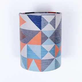trendy geometric lamp shade in paprika & navy