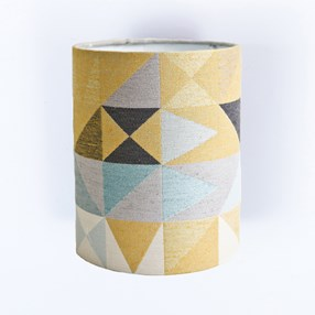 trendy geometric lamp shade in mustard & grey