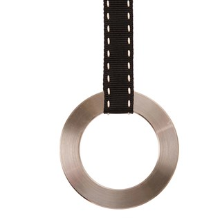 polished stainless steel ring window spring blind pull with a black and white ribbon