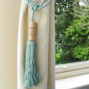 duck egg blue colour twirl large wooden tassel curtain tieback with matching rope