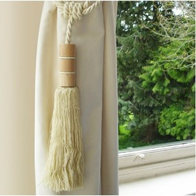 parchment cream colour twirl large wooden tassel curtain tieback with matching rope