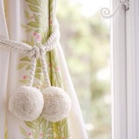 small pompom woolly curtain tieback in cloud white
