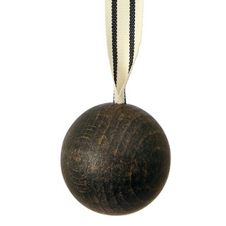 wooden ball blind pull -  cocoa with ribbon