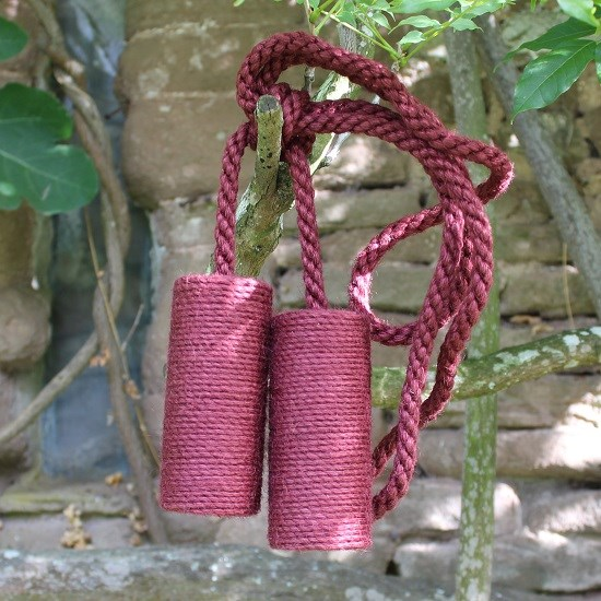 large jute cylinder tiebacks - berry red