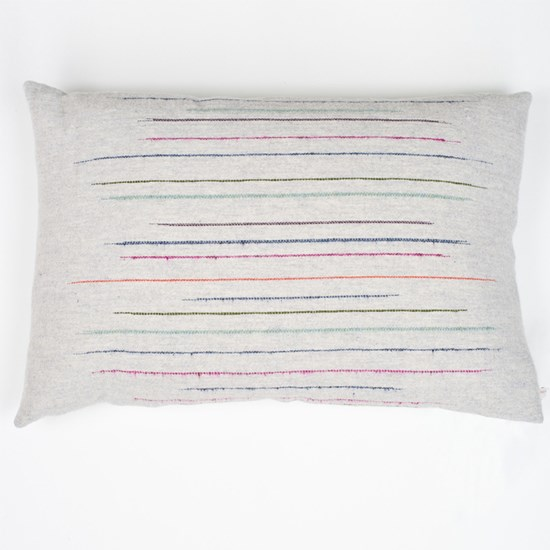 chalkney stripe cushion in soft grey
