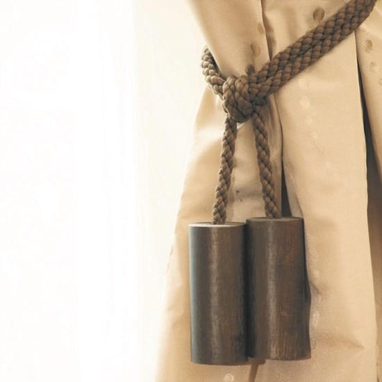 wooden cylinder tiebacks - cocoa