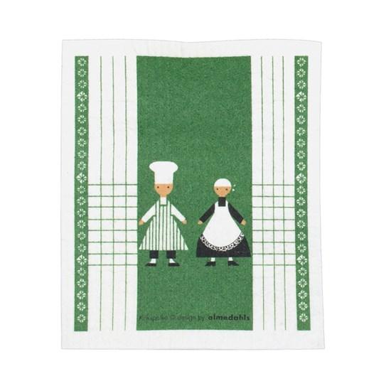 dancing cooks sponge cloth - green