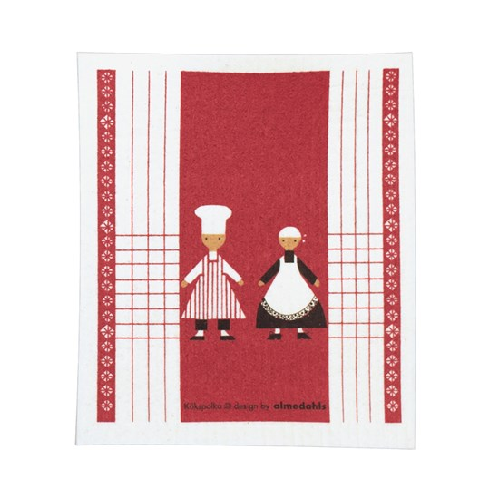 dancing cooks sponge cloth - red