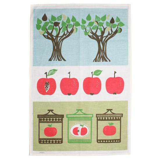 apple harvest tea towel - red apple