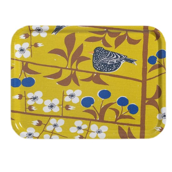 cherry orchard large tray - mustard