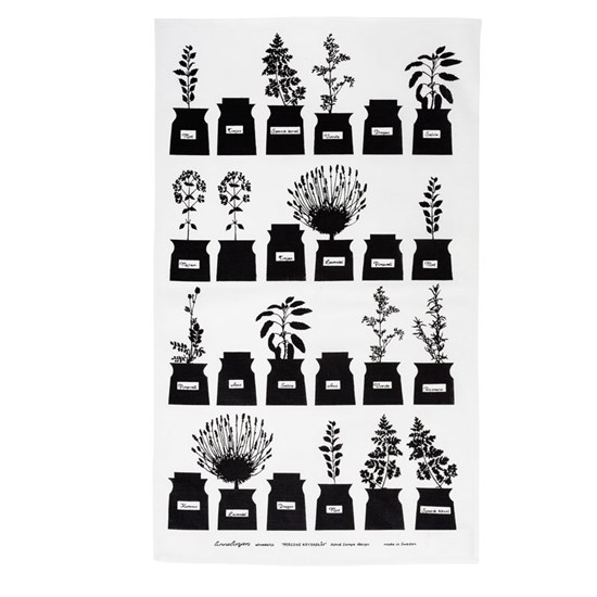 herb garden tea towel - black