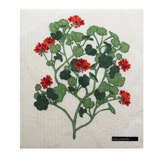 geraniums sponge cloth - red