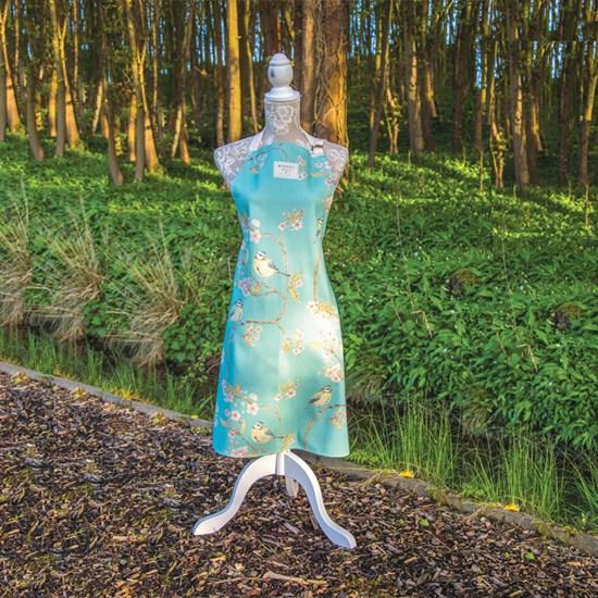 blue tit & blossom apron - turquoise