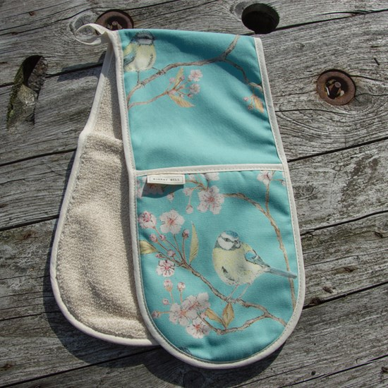 blue tit & blossom double oven glove - turquoise