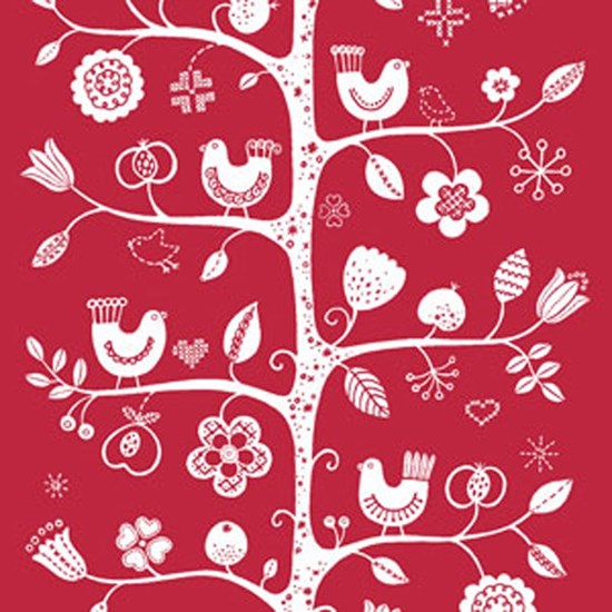 birdsong fabric - red & white