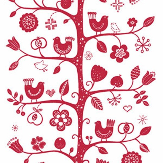 birdsong fabric - white & red