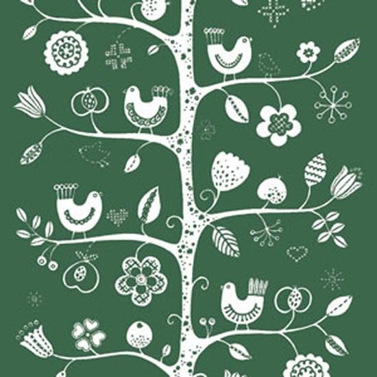 birdsong fabric - green & white