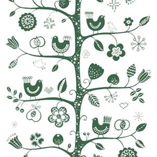 birdsong fabric - white & green