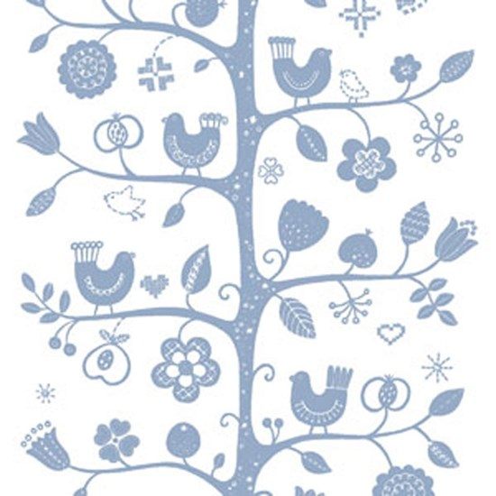 birdsong fabric - white & blue
