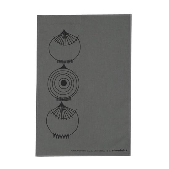 picknick elements tea towel - dark grey
