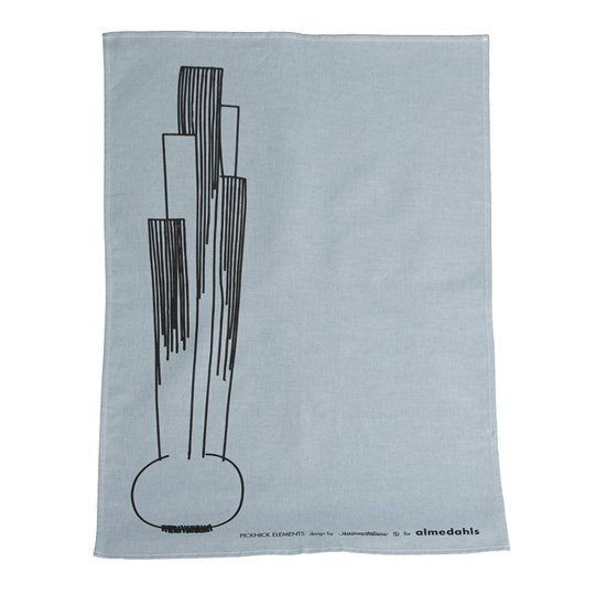 picknick elements tea towel - light blue