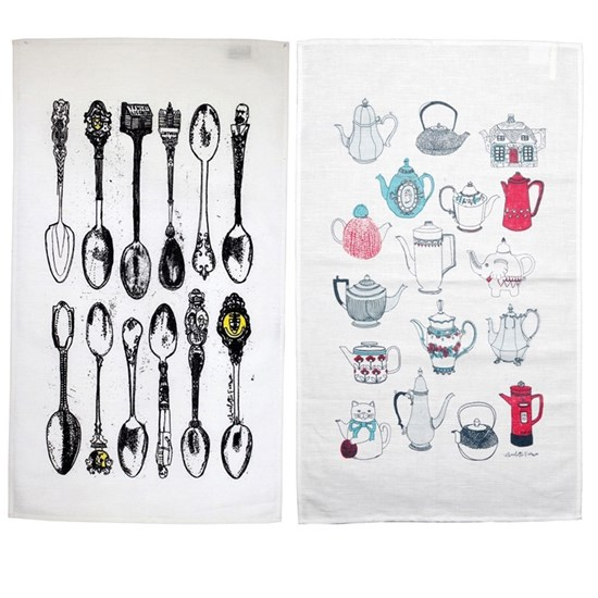 warm the pot & spoons tea towel gift set